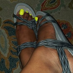 Black and Grey BareTraps Comfort Sandals